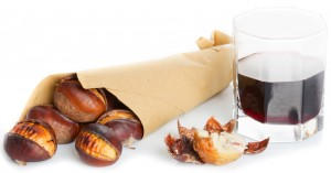 Roasted chestnuts with red wine